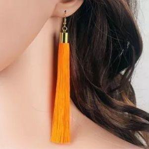 Boho Swing Tassel Earrings Orange